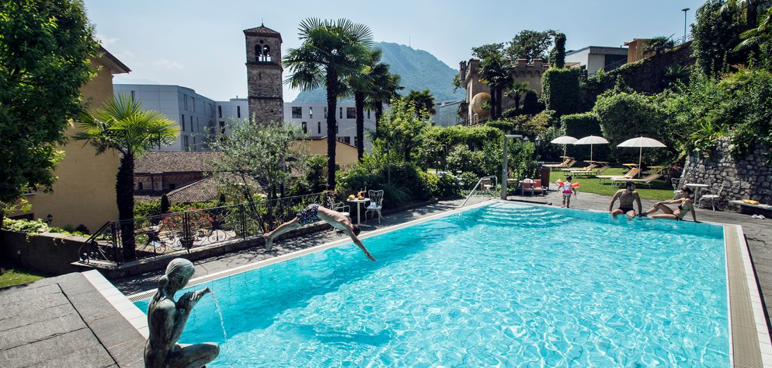 Pool im International au Lac Historic Lakeside Hotel Lugano Best 3 Star Hotels